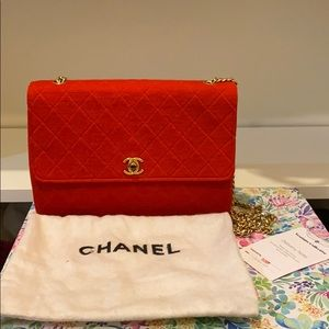 Authentic Chanel Red Classic Flap Bag